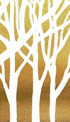 Painting - White Abstract Forest Beige Background Triptych A 3of3 by Irina Sztukowski