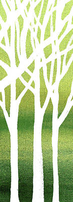 Painting - White Abstract Forest Green Background Triptych A 3of3  by Irina Sztukowski