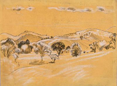 Arthur Bowen Davies Drawing - White And Black Chalk Landscape by Arthur Bowen Davies