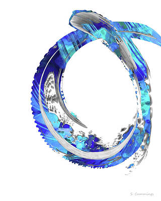 Painting - White And Blue Art - Swirling 4 - Sharon Cummings by Sharon Cummings