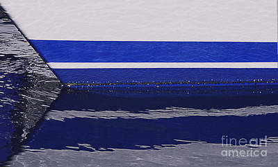 White And Blue Boat Symmetry Art Print by Danuta Bennett