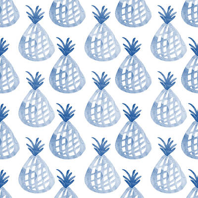 Fruits Mixed Media - White And Blue Pineapple Party by Linda Woods