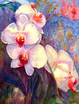 White And Fuchsia Orchids Art Print by Estela Robles