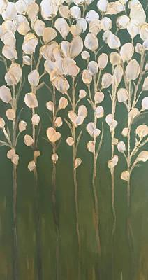 Painting - White And Gold Flowers Art By Brenda Boss by Brenda Boss