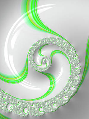 Modern Fractal Art Photograph - White And Green Spiral Elegant And Minimalist by Matthias Hauser