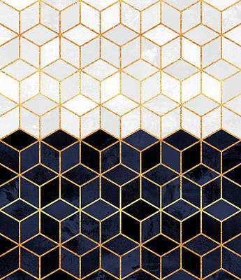 Geometric Digital Art - White And Navy Cubes by Elisabeth Fredriksson