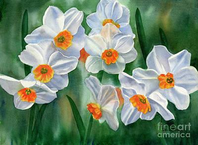 Daffodils Painting - White And Orange Daffodils by Sharon Freeman
