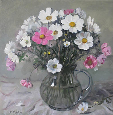 Painting - White And Pink Cosmos Bouquet In Glass Pitcher by Robert Holden