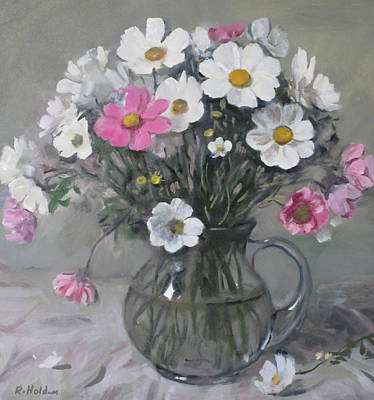 Painting - White And Pink Cosmos Bouquet In Water Pitcher No. 2 by Robert Holden