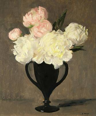 Painting - White And Pink Peonies In Footed Black Glass Vase by Robert Holden