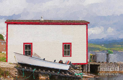 Photograph - White And Red Fishing Stage With A Boat by Les Palenik