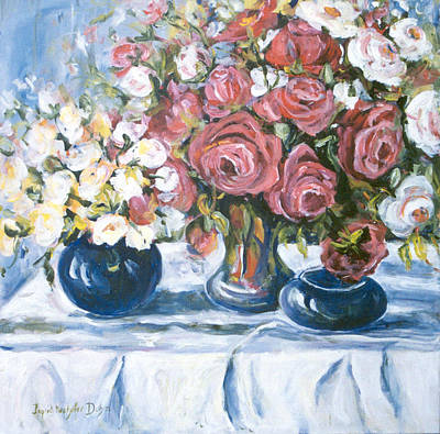 Blue Hues - White and Red Roses by Ingrid Dohm