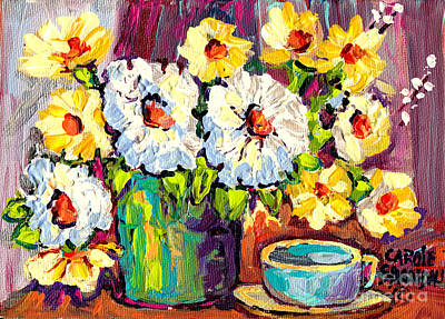 Painting - White And Yellow Flowers In Blue Vase With Cup Colorful Original Painting By Carole Spandau by Carole Spandau