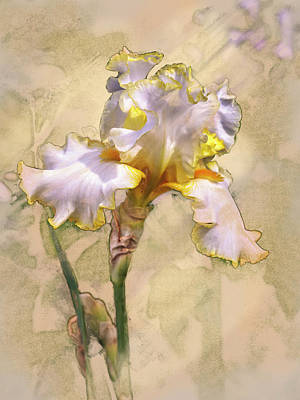 Digital Art - White And Yellow Iris_b by Mark Mille