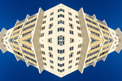 Photograph - White Apartment Block Abstract And Blue Sky by John Williams