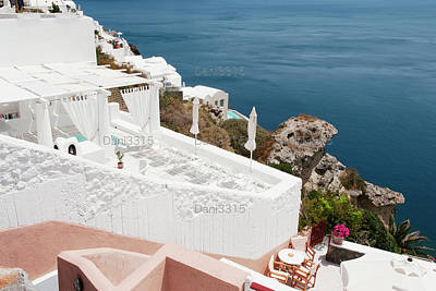 Sunset Photograph - White Architecture Of Oia Village On Santorini Island, Greece by Dani Prints and Images