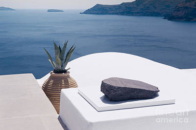 Landmarks Photograph - White Architecture On Santorini Island, Greece. Beautiful Landscape With Sea View. by Dani Prints and Images
