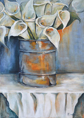 South African Artist Painting - White Calla Lilies In A Tin by Kareni Bester
