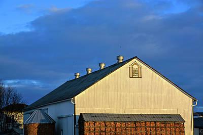 White Barn At Golden Hour Art Print