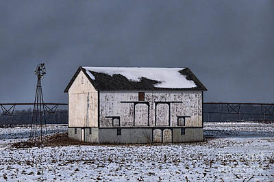 Photograph - White Barn At Night by David Arment