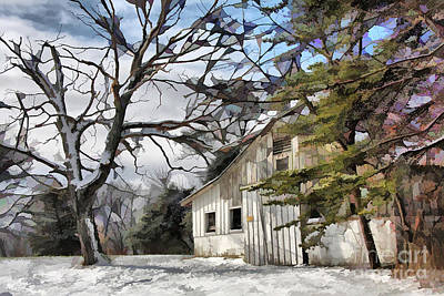 Photograph - White Barn In Snow by Tom Griffithe