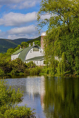 Art Print featuring the photograph White Barn Reflection In Pond by Paula Porterfield-Izzo