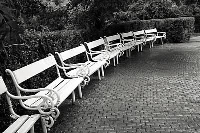 White Benches-  By Linda Wood Woods Art Print by Linda Woods