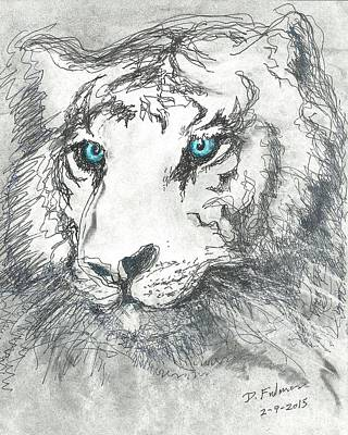 Drawing - White Bengal Tiger by Denise Fulmer