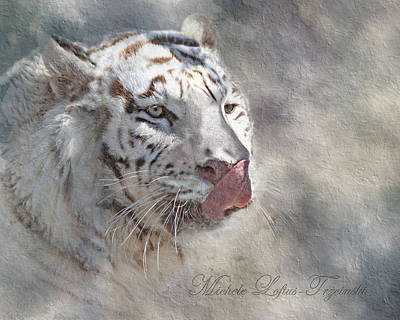 Digital Art - White Bengal Tiger by Michele A Loftus