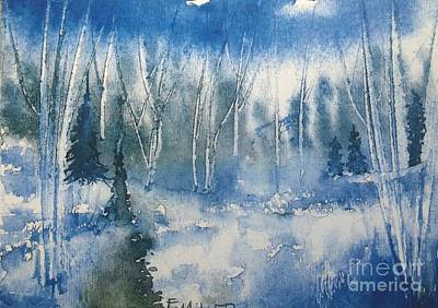 Painting - White Birch On A Winter's Day by Eunice Miller