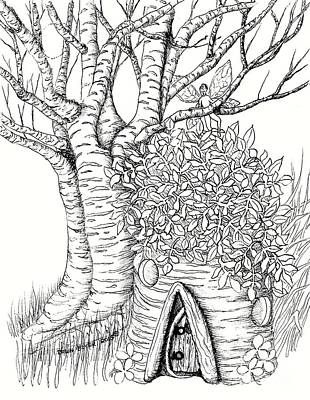 Fairy House Drawing - White Birch Stump Fairy House by Dawn Boyer
