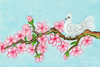 Painting - White Bird On Branch With Pink Flowers, Painting by Irina Afonskaya
