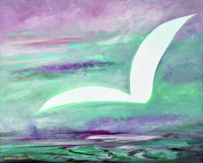 Painting - White Bird Purple Sky by Gina De Gorna