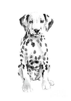 Dalmatian Wall Art - Painting - Dalmatian Dog Watercolor Painting, White Black Spotted Dalmatian Puppy Art Print by Joanna Szmerdt