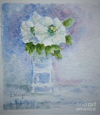 White Blooms In Blue Vase Art Print
