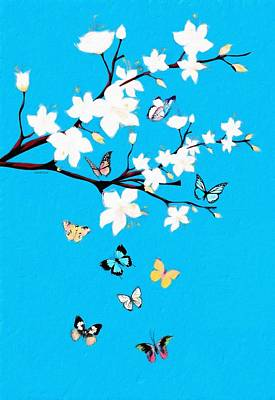 Mixed Media - White Blossoms And Butterflies  by Gabriella Weninger - David