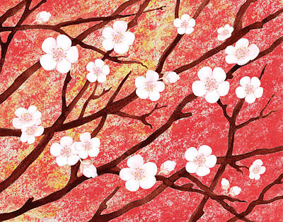 Painting - White Blossoms Sunrise by Irina Sztukowski