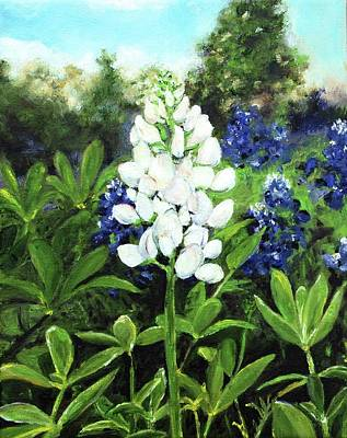Painting - White Bluebonnet by Cheryl Green