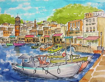 Hydra Island Painting - White Boat, Hydra Harbor by Vic Delnore
