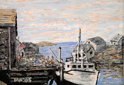 Art Print featuring the painting White Boat In Peggys Cove Nova Scotia by Ian  MacDonald