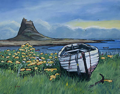 Northumberland Painting - White Boat On Lindisfarne by John Cox