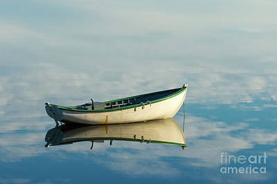 Photograph - White Boat Reflected by Les Palenik