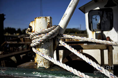 Photograph - White Boat Rope 2014 by John Rizzuto