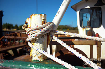 Art Print featuring the photograph White Boat Rope by John Rizzuto