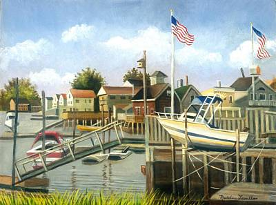 Painting - White Boat With Flags In Broad Channel by Madeline Lovallo