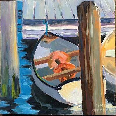 Painting - White Boats With Orange And Yellow by Lynne Schulte