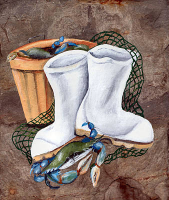 Net Painting - White Boots And Crabs by Elaine Hodges
