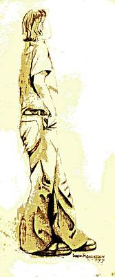 Tennis Shoe Drawing - White Boy Standing On Table by Sheri Buchheit