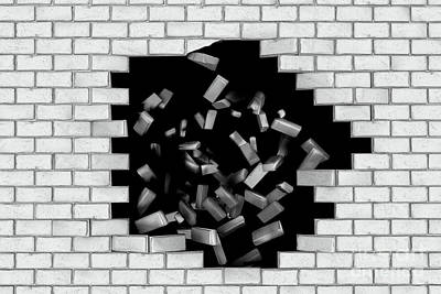 Dirty Photograph - White Brick Wall Falling Down Making A Hole by Michal Bednarek