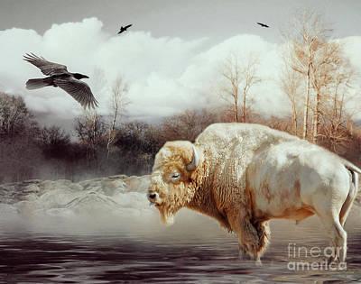 White Buffalo And Raven Art Print by KaFra Art